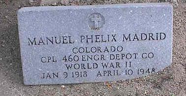 MADRID, MANUEL PHELIX - Chaffee County, Colorado | MANUEL PHELIX MADRID - Colorado Gravestone Photos