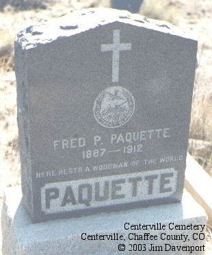 PAQUETTE, FRED P. - Chaffee County, Colorado | FRED P. PAQUETTE - Colorado Gravestone Photos