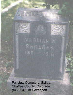 RHODES, NORMAN W. - Chaffee County, Colorado   NORMAN W. RHODES - Colorado Gravestone Photos