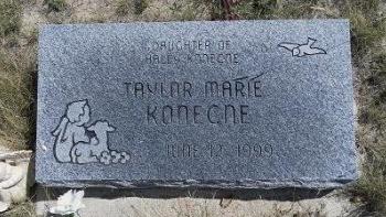 KONECNE, TAYLOR MARIE - Cheyenne County, Colorado   TAYLOR MARIE KONECNE - Colorado Gravestone Photos