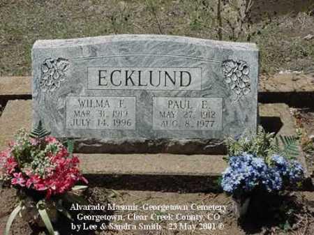 ECKLUND, PAUL E. - Clear Creek County, Colorado   PAUL E. ECKLUND - Colorado Gravestone Photos