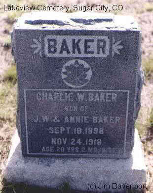 BAKER, CHARLIE W. - Crowley County, Colorado   CHARLIE W. BAKER - Colorado Gravestone Photos