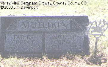 MULLIKIN, CORA E. - Crowley County, Colorado | CORA E. MULLIKIN - Colorado Gravestone Photos