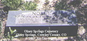 NOBLE, MYRTLE I. - Crowley County, Colorado | MYRTLE I. NOBLE - Colorado Gravestone Photos