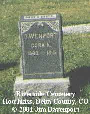 DAVENPORT, CORA K. - Delta County, Colorado   CORA K. DAVENPORT - Colorado Gravestone Photos