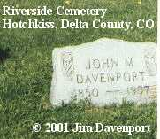 DAVENPORT, JOHN M. - Delta County, Colorado | JOHN M. DAVENPORT - Colorado Gravestone Photos