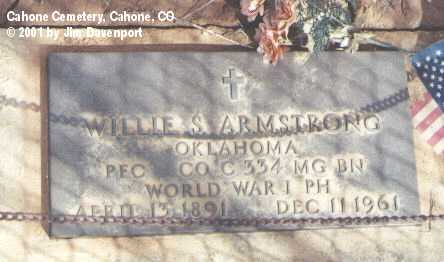 ARMSTRONG, WILLIE S. - Dolores County, Colorado | WILLIE S. ARMSTRONG - Colorado Gravestone Photos