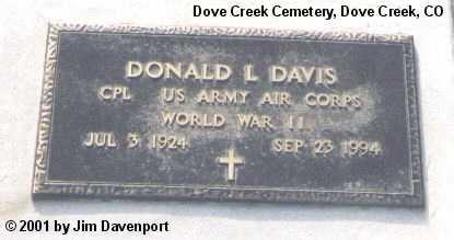 DAVIS, DONALD L. - Dolores County, Colorado   DONALD L. DAVIS - Colorado Gravestone Photos