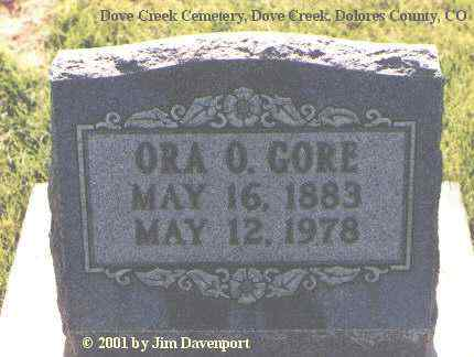 GORE, ORA O. - Dolores County, Colorado   ORA O. GORE - Colorado Gravestone Photos