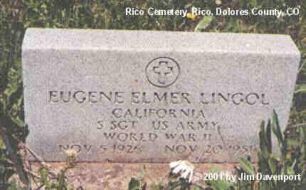 LINGOL, EUGENE ELMER - Dolores County, Colorado | EUGENE ELMER LINGOL - Colorado Gravestone Photos