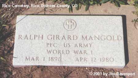 MANGOLD, RALPH GIRARD - Dolores County, Colorado | RALPH GIRARD MANGOLD - Colorado Gravestone Photos