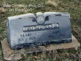 OBENDORGER, KATE - Dolores County, Colorado | KATE OBENDORGER - Colorado Gravestone Photos