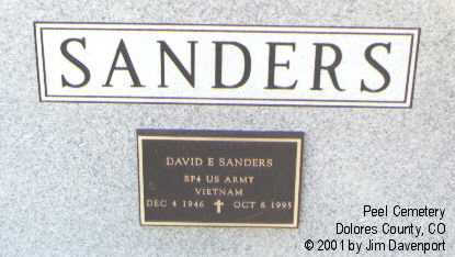 SANDERS, DAVID E. - Dolores County, Colorado | DAVID E. SANDERS - Colorado Gravestone Photos