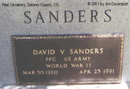 SANDERS, DAVID V. - Dolores County, Colorado | DAVID V. SANDERS - Colorado Gravestone Photos