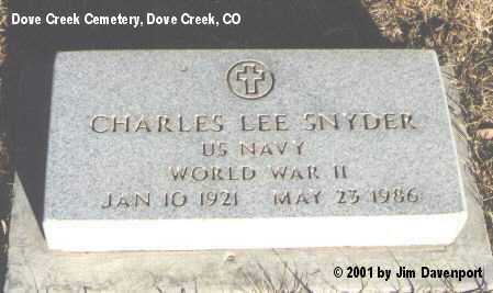 SNYDER, CHARLES LEE - Dolores County, Colorado   CHARLES LEE SNYDER - Colorado Gravestone Photos