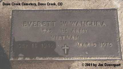 WANCURA, EVERTT W. - Dolores County, Colorado | EVERTT W. WANCURA - Colorado Gravestone Photos
