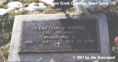 WEESE, CLAYTON J. - Dolores County, Colorado | CLAYTON J. WEESE - Colorado Gravestone Photos