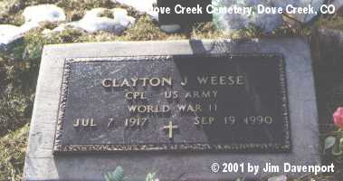 WEESE, CLAYTON J. - Dolores County, Colorado | CLAYTON J. WEESE - Colorado Gravestone Photos