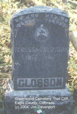 GLOSSON, TERESSA O. - Eagle County, Colorado   TERESSA O. GLOSSON - Colorado Gravestone Photos
