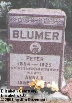 BLUMER, PETER - Elbert County, Colorado | PETER BLUMER - Colorado Gravestone Photos
