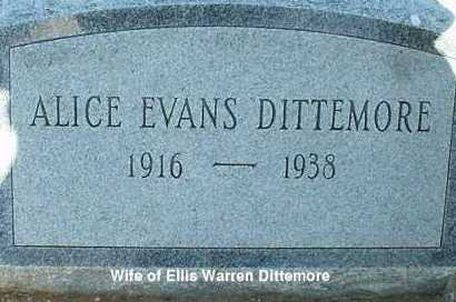 EVANS DITTEMORE, ALICE - El Paso County, Colorado   ALICE EVANS DITTEMORE - Colorado Gravestone Photos