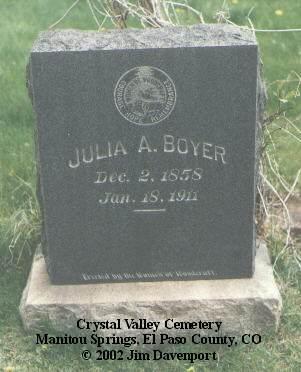 BOYER, JULIA A. - El Paso County, Colorado | JULIA A. BOYER - Colorado Gravestone Photos