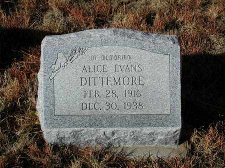 EVANS DITTEMORE, ALICE - El Paso County, Colorado | ALICE EVANS DITTEMORE - Colorado Gravestone Photos