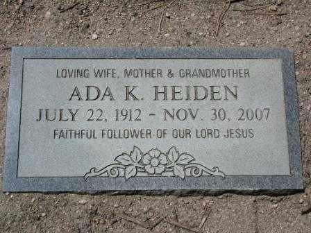 HEIDEN, ADA - El Paso County, Colorado | ADA HEIDEN - Colorado Gravestone Photos