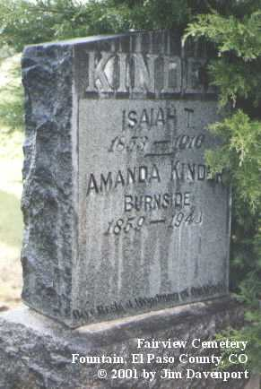 BURNSIDE, AMANDA KINDER - El Paso County, Colorado | AMANDA KINDER BURNSIDE - Colorado Gravestone Photos