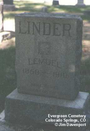 LINDER, LEMUEL - El Paso County, Colorado   LEMUEL LINDER - Colorado Gravestone Photos