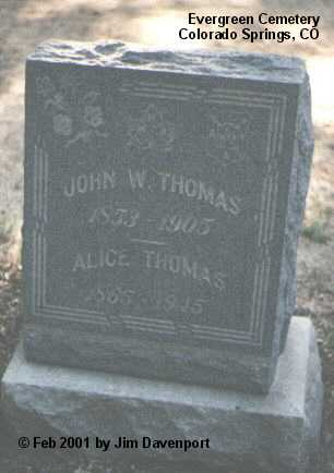 THOMAS, JOHN W. - El Paso County, Colorado | JOHN W. THOMAS - Colorado Gravestone Photos