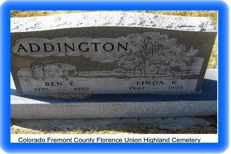 ADDINGTON, BENJAMIN EDGAR - Fremont County, Colorado | BENJAMIN EDGAR ADDINGTON - Colorado Gravestone Photos
