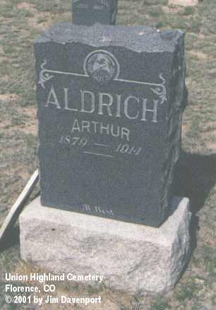 ALDRICH, ARTHUR - Fremont County, Colorado | ARTHUR ALDRICH - Colorado Gravestone Photos