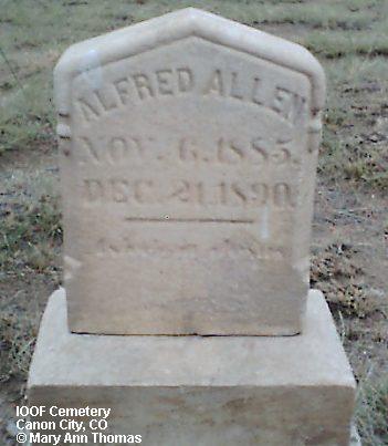 ALLEN, ALFRED - Fremont County, Colorado | ALFRED ALLEN - Colorado Gravestone Photos