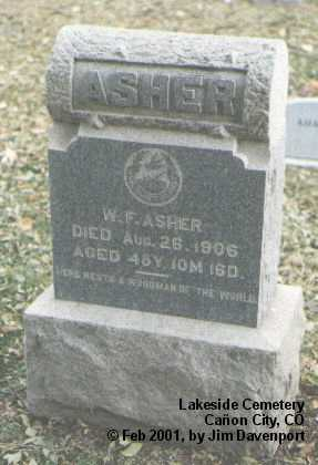 ASHER, W. F. - Fremont County, Colorado | W. F. ASHER - Colorado Gravestone Photos