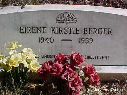 BERGER, EIRENE KIRSTIE - Fremont County, Colorado | EIRENE KIRSTIE BERGER - Colorado Gravestone Photos