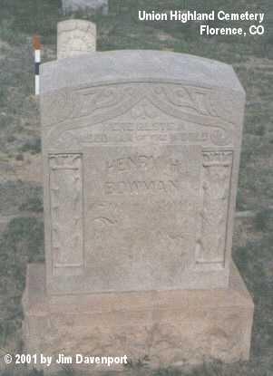 BOWMAN, HENRY H. - Fremont County, Colorado   HENRY H. BOWMAN - Colorado Gravestone Photos