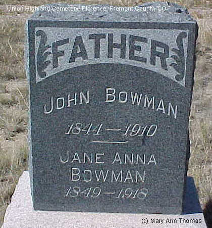 BOWMAN, JANE ANNA - Fremont County, Colorado | JANE ANNA BOWMAN - Colorado Gravestone Photos
