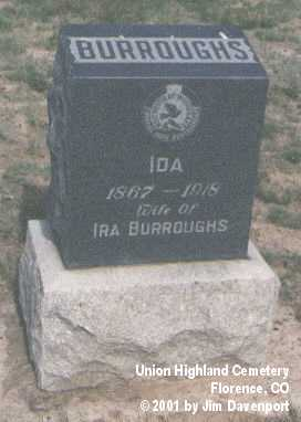 BURROUGHS, IDA - Fremont County, Colorado | IDA BURROUGHS - Colorado Gravestone Photos
