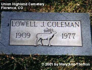 COLEMAN, LOWELL J. - Fremont County, Colorado | LOWELL J. COLEMAN - Colorado Gravestone Photos