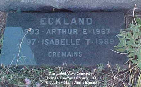 ECKLAND, ARTHUR E. - Fremont County, Colorado | ARTHUR E. ECKLAND - Colorado Gravestone Photos