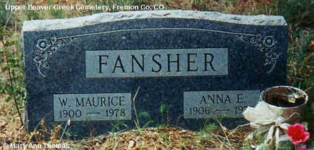 FANSHER, W. MAURICE - Fremont County, Colorado | W. MAURICE FANSHER - Colorado Gravestone Photos