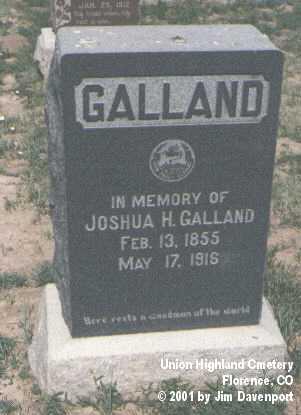GALLAND, JOSHUA H. - Fremont County, Colorado   JOSHUA H. GALLAND - Colorado Gravestone Photos