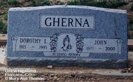GHERNA, DOROTHY I. - Fremont County, Colorado | DOROTHY I. GHERNA - Colorado Gravestone Photos