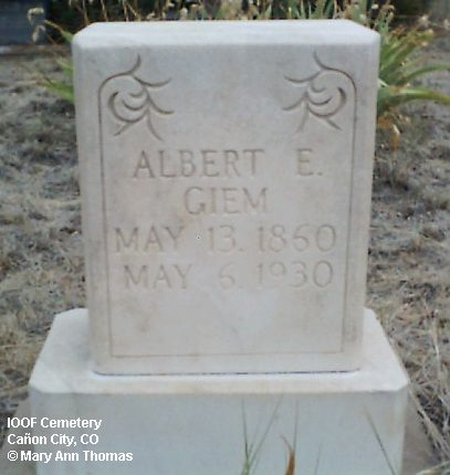GIEM, ALBERT E. - Fremont County, Colorado | ALBERT E. GIEM - Colorado Gravestone Photos
