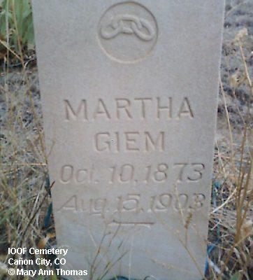 GIEM, MARTHA - Fremont County, Colorado | MARTHA GIEM - Colorado Gravestone Photos