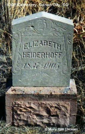 HEIDERHOFF, ELIZABETH - Fremont County, Colorado | ELIZABETH HEIDERHOFF - Colorado Gravestone Photos