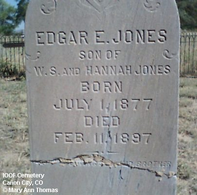 JONES, EDGAR E. - Fremont County, Colorado   EDGAR E. JONES - Colorado Gravestone Photos