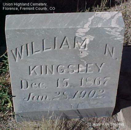 KINGSLEY, WILLIAM N. - Fremont County, Colorado | WILLIAM N. KINGSLEY - Colorado Gravestone Photos