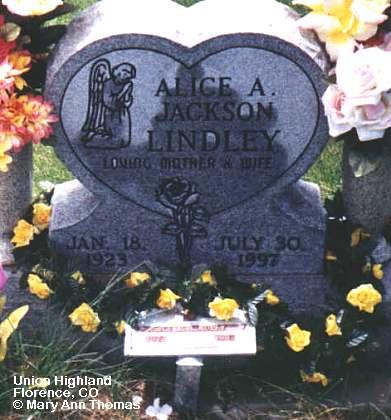 LINDLEY, ALICE A. - Fremont County, Colorado | ALICE A. LINDLEY - Colorado Gravestone Photos